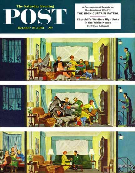 Thornton Utz Saturday Evening Post Hurried Clean-Up 1953_10_24 | The Saturday Evening Post Graphic Art Covers 1931-1969