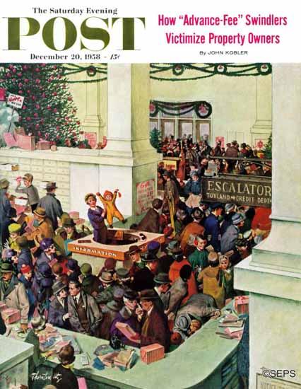 Thornton Utz Saturday Evening Post Lost Child Department 1958_12_20 | The Saturday Evening Post Graphic Art Covers 1931-1969