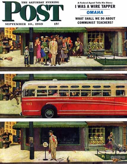 Thornton Utz Saturday Evening Post Missed the Bus 1949_09_10   The Saturday Evening Post Graphic Art Covers 1931-1969