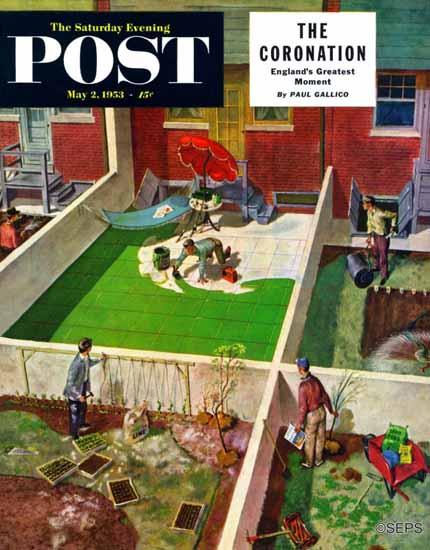 Thornton Utz Saturday Evening Post Painting the Patio Green 1953_05_02 | The Saturday Evening Post Graphic Art Covers 1931-1969