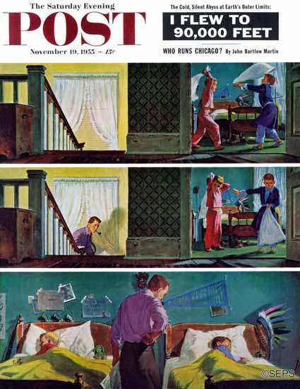 Thornton Utz Saturday Evening Post Pillow Fight 1955_11_19 | The Saturday Evening Post Graphic Art Covers 1931-1969