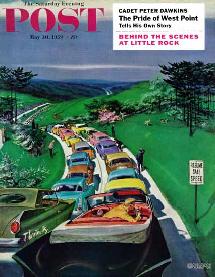 Thornton Utz Saturday Evening Post Resume Safe Speed 1959_05_30 | The Saturday Evening Post Graphic Art Covers 1931-1969