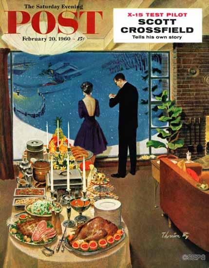 Thornton Utz Saturday Evening Post Snow Buffet Party 1960_02_20   The Saturday Evening Post Graphic Art Covers 1931-1969