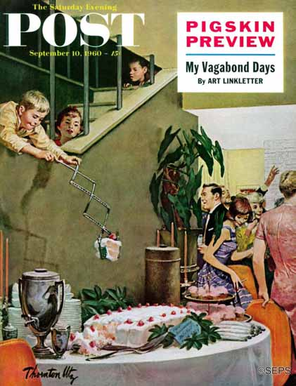 Thornton Utz Saturday Evening Post Stealing Cake at Party 1960_09_10 | The Saturday Evening Post Graphic Art Covers 1931-1969