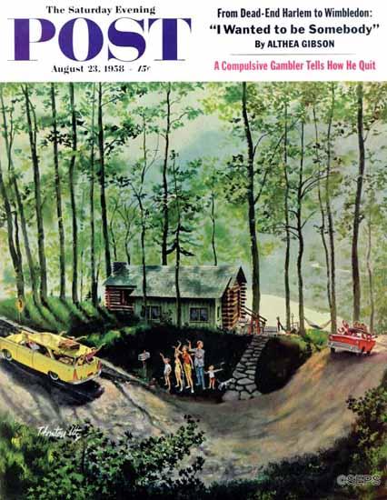 Thornton Utz Saturday Evening Post Visitors in the Woods 1958_08_23 | The Saturday Evening Post Graphic Art Covers 1931-1969