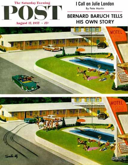 Thornton Utz Saturday Evening Post Where the Girls Are 1957_08_17 | The Saturday Evening Post Graphic Art Covers 1931-1969