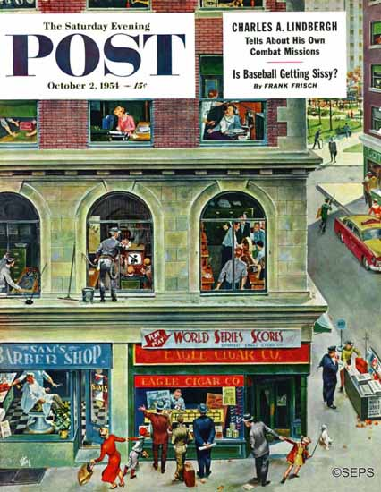 Thornton Utz Saturday Evening Post World Series Scores 1954_10_02 | The Saturday Evening Post Graphic Art Covers 1931-1969