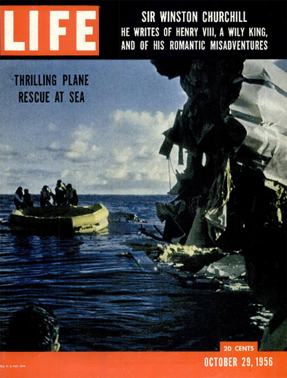 Thrilling Plane Rescue at Sea 29 Oct 1956 Copyright Life Magazine   Life Magazine Color Photo Covers 1937-1970