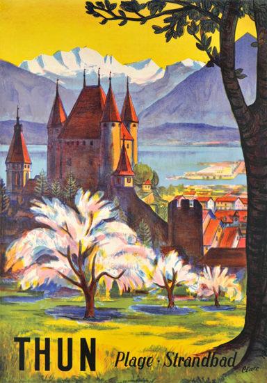 Thun Plage Strandbad Switzerland 1953 Lido | Vintage Travel Posters 1891-1970