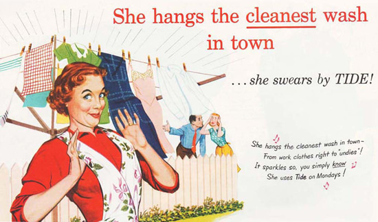 Tide Laundry Detergent She Hangs The Cleanest 1951 | Sex Appeal Vintage Ads and Covers 1891-1970