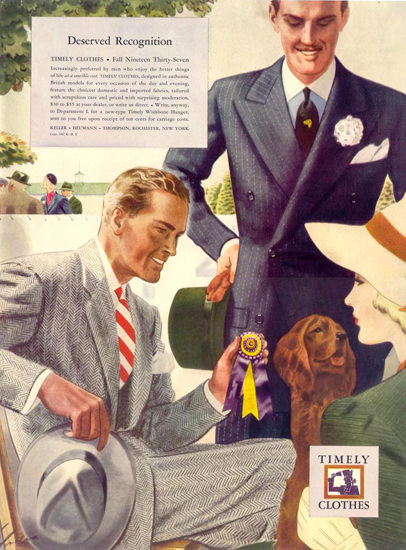 Timely Clothes Suit Deserved Recognition 1937 | Sex Appeal Vintage Ads and Covers 1891-1970