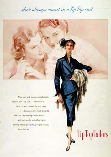 Tip Top Tailors Fashion 1951 Always Smaer | Sex Appeal Vintage Ads and Covers 1891-1970