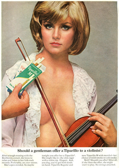 Tiparillo Gentleman Offer To A Violinist 1967 | Sex Appeal Vintage Ads and Covers 1891-1970