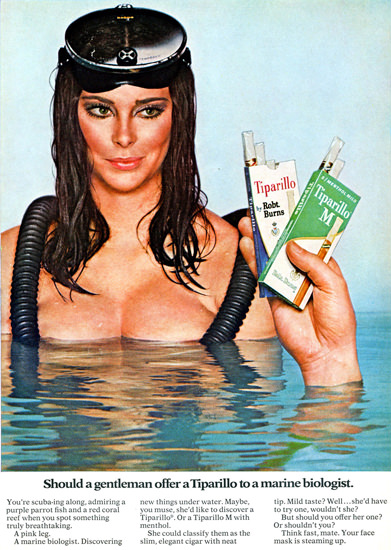Tiparillo Offer To A Marine Biologist 1968 | Sex Appeal Vintage Ads and Covers 1891-1970