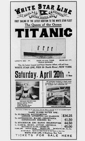 Titanic Queen Of Ocean White Star Line 1912 | Vintage Ad and Cover Art 1891-1970