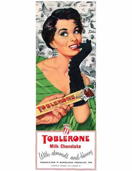 Toblerone Chocolate Ad 1958 | Sex Appeal Vintage Ads and Covers 1891-1970