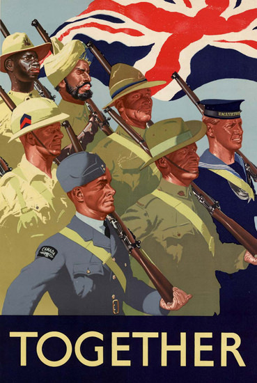 Together Troops Of All Races United Kingdom | Vintage War Propaganda Posters 1891-1970