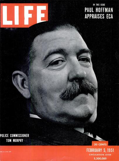Tom Murphy Police Commissioner 5 Feb 1951 Copyright Life Magazine | Life Magazine BW Photo Covers 1936-1970