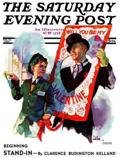Tom Webb Saturday Evening Post Giant Valentine 1937_02_13 | The Saturday Evening Post Graphic Art Covers 1931-1969