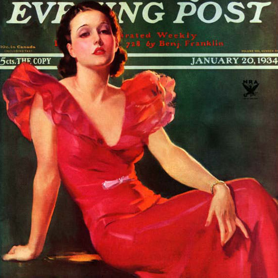 Tom Webb Saturday Evening Post In Red 1934_01_20 Copyright crop | Best of 1930s Ad and Cover Art