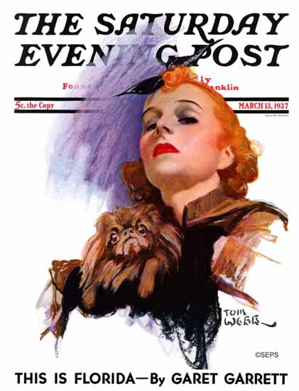 Tom Webb Saturday Evening Post Woman and Pekingese 1937_03_13 | The Saturday Evening Post Graphic Art Covers 1931-1969