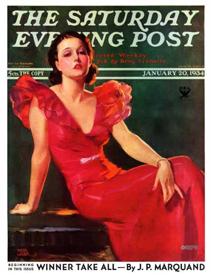 Tom Webb Saturday Evening Post Woman in Red 1934_01_20 | The Saturday Evening Post Graphic Art Covers 1931-1969