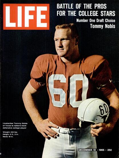 Tommy Nobis Best College Player 10 Dec 1965 Copyright Life Magazine   Life Magazine Color Photo Covers 1937-1970