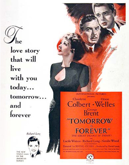Tomorrow Is Forever Movie 1946 Colbert Wells | Sex Appeal Vintage Ads and Covers 1891-1970