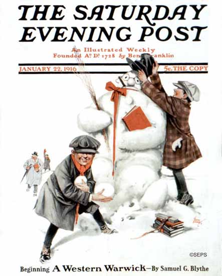 Tony Sarg Saturday Evening Post Snowman 1916_01_22 | The Saturday Evening Post Graphic Art Covers 1892-1930