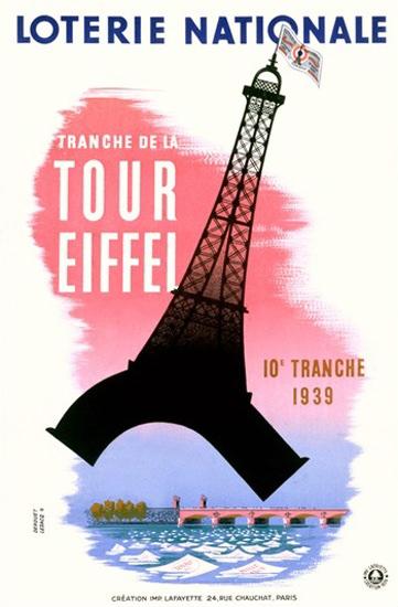 Tour Eiffel Loterie Nationale Paris 1939 Eiffel | Vintage Ad and Cover Art 1891-1970