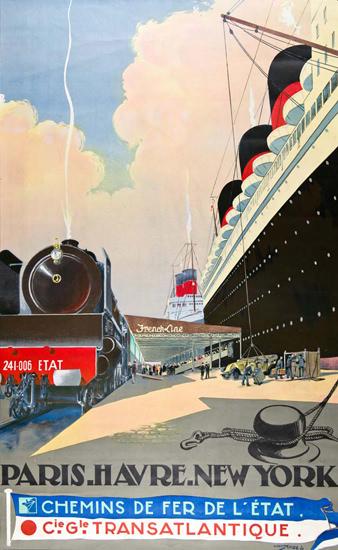 Transatlantique Paris-Havre-New York 1930 | Vintage Travel Posters 1891-1970