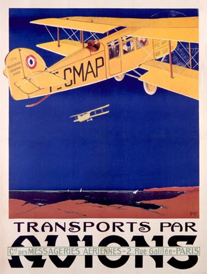 Transports Par Avions Messageries Aeriennes | Vintage Travel Posters 1891-1970