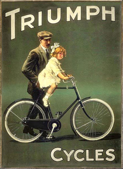 Triumph Cycles Kid On Bicycle | Vintage Travel Posters 1891-1970