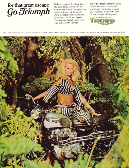 Triumph Motorcycles 1967 Jungle Pin-Up | Sex Appeal Vintage Ads and Covers 1891-1970