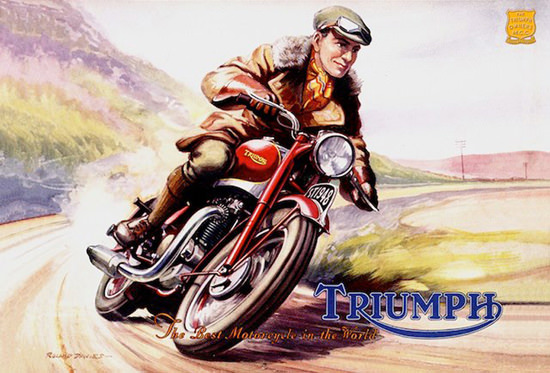 Triumph The Best Motorcycle in The World | Vintage Travel Posters 1891-1970