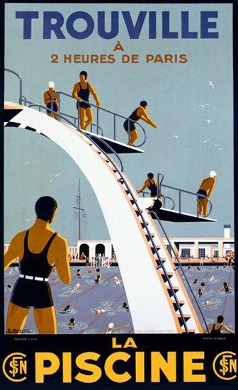 Trouville La Piscine Public Swimming Pool France | Vintage Travel Posters 1891-1970