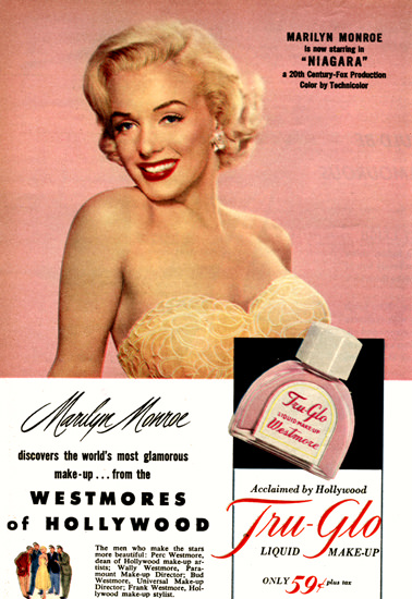 Tru-Glo Marilyn Monroe Niagara 1953 | Sex Appeal Vintage Ads and Covers 1891-1970