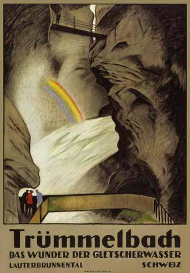 Truemmelbach Wunder Gletscherwasser Switzerland 1922 | Vintage Travel Posters 1891-1970