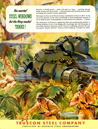 Truscon Steel Co But Army Needed Tanks 1942 | Vintage War Propaganda Posters 1891-1970