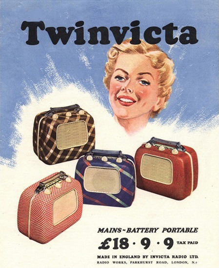 Twinvicta Radio Mains-Battery Portable England | Vintage Ad and Cover Art 1891-1970
