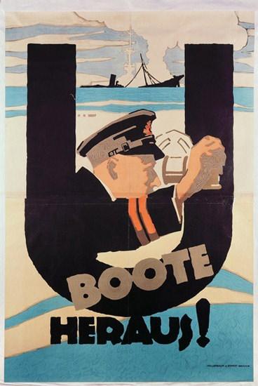 U-Boote Heraus German U-Boats | Vintage War Propaganda Posters 1891-1970