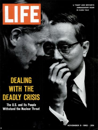 U Thant and John G Dean Cuba Crisis 9 Nov 1962 Copyright Life Magazine   Life Magazine BW Photo Covers 1936-1970