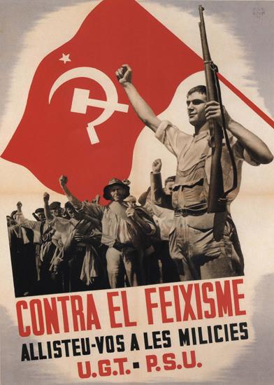 UGT PSU Contra El Feixisme Spain Espana | Vintage War Propaganda Posters 1891-1970