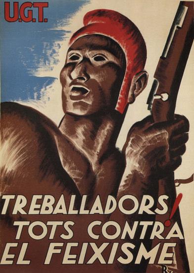 UGT Treballadors Tots Contra El Feixisme Spain | Vintage War Propaganda Posters 1891-1970