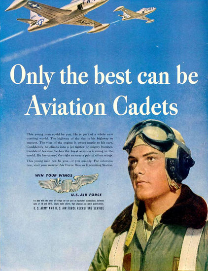 US Air Force Aviation Cadets Wings 1948   Vintage War Propaganda Posters 1891-1970