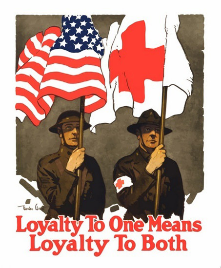US And Red Cross Flags Loyality Means To Both | Vintage War Propaganda Posters 1891-1970