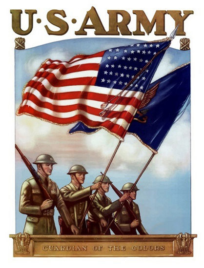 US Army Guardian Of The Colors Flags | Vintage War Propaganda Posters 1891-1970