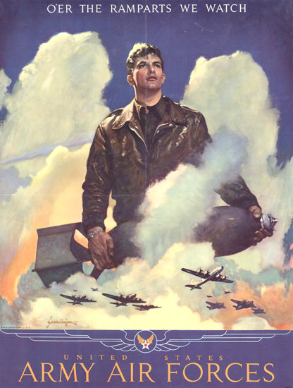 US Army US Air Forces The Ramparts We Watch | Vintage War Propaganda Posters 1891-1970