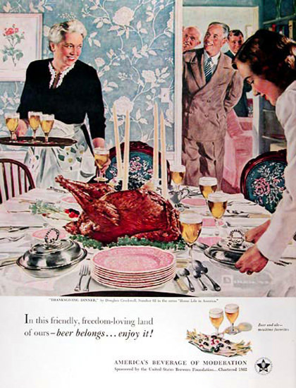 US Brewers Foundation 1951 Thanksgiving | Vintage Ad and Cover Art 1891-1970