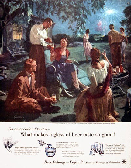 US Brewers Foundation 1955 Garden Party | Vintage Ad and Cover Art 1891-1970